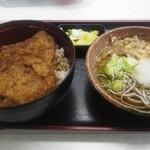 小川家 - 「ソースヒレカツ丼」と「越前おろしそばハーフ」