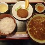 ファイブ - 日替わりのカレーうどん定食、コーヒー付き(700円)
