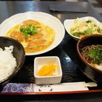 花水木 - 料理写真:カツ玉定、蕎麦は、冷やぶっかけ(2014.2.19)