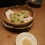麓 - 空豆と海老のはさみ揚げ