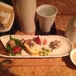 ○カ商店 - 酒の肴、はたはた、ますこ、山形のおまめさん、ブルーチーズあえほか