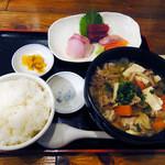 24377924 - 野菜たくさんの豚汁と刺身盛り定食