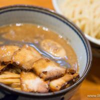 煮干麺 新橋 月と鼈-肉玉つけ麺【2014年2月】
