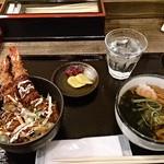 どんどん - ランチBエビフライ丼とうどん650円