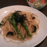 カフェディッシュらふ - ちりめん山椒と京野菜の和風スパゲティ