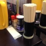 麺屋 燕 - テーブル席の卓上