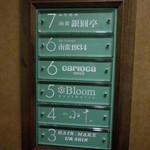 南蛮 銀圓亭 - エレベータ内の案内板