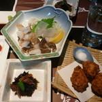 Mitsuoki - 活いいだこ造り、付出、納豆天ぷら