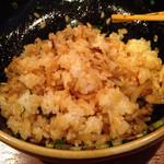 翠香 - 汁なし坦々麺を混ぜご飯にします
