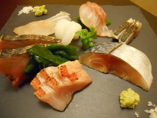 魚斉 - 刺身盛り(サゴチ・方々・金目鯛・スミイカ・天然真鯛・〆鯖)
