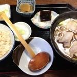布袋庵 - 肉南ばんそば ¥700+かやくご飯¥250