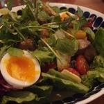 アルルの食堂 urura - Feb, 2014 大山鶏砂肝コンフィとキノコ・玉子のたっぷりサラダ