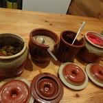 無鉄砲 - 薬味の四天王 辛し高菜、すり胡麻、醤油ニンニク、紅生姜
