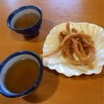 麺工房こうき - お茶と、うどん麺のかりんとう。