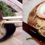 清正 - 麺の太さの比較(左・熊本風中太麺、右・替え玉の博多風細麺)