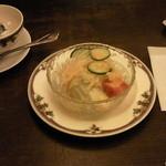 24451902 - 厚切りトーストセットから先に提供されたサラダとスープです。