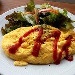 155ダイナー - トーストセットのオムレツ&サラダ(2014.2下旬)