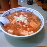 古寿茂 - 本日のサービス麺はマーボー麺(550円)です、あまり辛くないのでラー油をたっぷり入れます(^^)