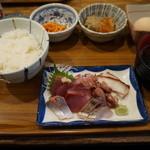 魚屋はちまき - 600えん『7点盛り刺身定食』2014.2
