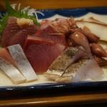 魚屋はちまき - 600えん『ランチ刺身定食』2014.2