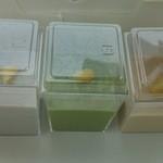 京都北野 煉屋八兵衛 - とろり 葛を使ったプリン  左から黒ゴマ、抹茶、きなこ 各300円