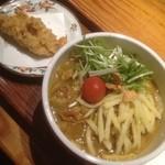 野らぼー - スープカレーうどん+鶏天