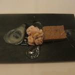 イルメリオ - ポルチーニのフラン、真鯛の白子のポシェ、菊芋のピュレ、りんごのバルサミコ酢