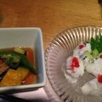 Sushikuijinushari - 鱧の湯引きと揚げ茄子