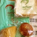 パルファン キムラヤ - 購入品 右上から時計回りに食パン、あんぱん、マーラーカオ