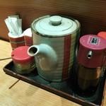 とんき - 卓上アイテムは特製ソース・からし・塩・七味・醤油・爪楊枝