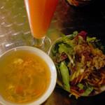 24505131 - サラダ・スープ・ピンクグレープフルーツジュース