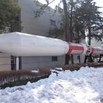 JAXA食堂 - 「M-3SⅡロケット」原寸模型。でか!