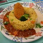JAXA食堂 - さすがJAXA食堂! 宇宙を感じる「スペースピラフ(スープ付・500円)」。 オクラと星形人参が嬉しい♪