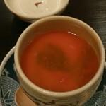 24513391 - 茶碗蒸し    赤いのは京人参の餡