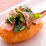 串かつ にし川 -  ★桜鯛★   上品な旨みの桜鯛とバジルを組み合わせた 洋風な味わいの串揚げ