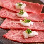 焼肉のんき - 料理写真:やわらかい上赤身肉のみぞれ。片面だけ焼いてあっさりとお召し上がり下さい