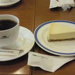 珈琲館 - チーズケーキセット ¥680 ドリンクはアメリカンコーヒーでオーダー。(2014.2.28)