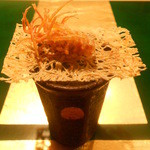 野嵯和 - のれそれの燻製オリーブオイル和え、タタミイワシと海老素揚げの