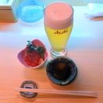 幸っちゃん寿司 - ビール小とイクラの醤油漬け