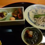 24575357 - 前菜とふくの刺身
