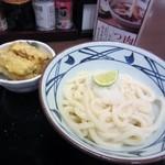 丸亀製麺 - 私の選んだおろし醤油うどん並と味付けごぼう天、合計480円です。