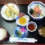 椎の木茶屋 - ランチサービス(刺身、天ぷら)