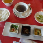 古奈青山 - 前菜、ライス、スープ、お新香