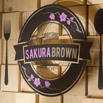 SAKURA BROWN - 店舗中央にあるロゴです。