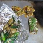 きゃべつ畑 - ネギとカキのしょうゆ炒め、カキ巻き、カキのプチ焼き
