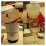 24629624 - お酒はメニュー以外の品も用意されています。先ずは「ビール」と「梅酒」を。                        次にお勧めの「ワイン」を頂きました。