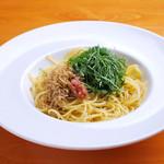 東輝 - 大葉とジャコと自家製梅肉のパスタ 1,000円