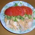 めし処 通 - 蒸し鶏のごまだれ¥400-