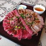 24686030 - ギャングステーキ丼ハーフ&ハーフ(デカ)