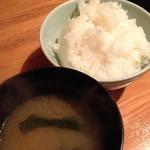 つくしんぼ - 定食のご飯と味噌汁2014年3月